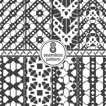 Set of seamless vector backgrounds. Abstract geometric pattern with stripe, squares, triangle. Modern white and black ornament. Graphic design element. Illusztráció