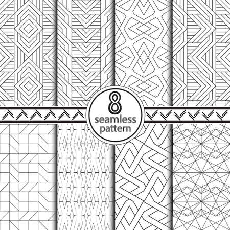 Set of seamless vector backgrounds. Abstract geometric pattern with thin line. Modern white and black ornament. Simple lattice graphic design. Illustration