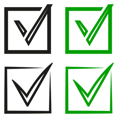 A set of  black and green tick marks in the field. Agreement sign character icons, accept. Vector design element.