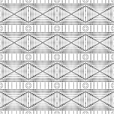 Seamless vector pattern. Abstract geometric minimalist texture. Modern ornament with points of different size. Dashed line. Cover design, packaging.