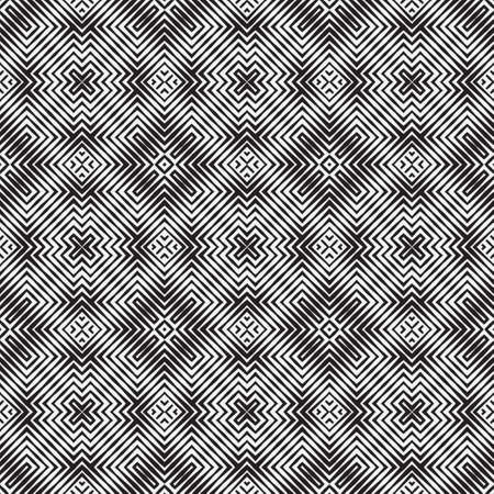 Seamless vector pattern. Abstract geometric background with infinitely repeating tiles. Graphic design element with rombs, chevron, rectangular shapes.