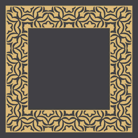Gold decorative frame. An elegant circular element of design with the place for the text. Production of invitations, menu, cafe and boutiques. Vector.
