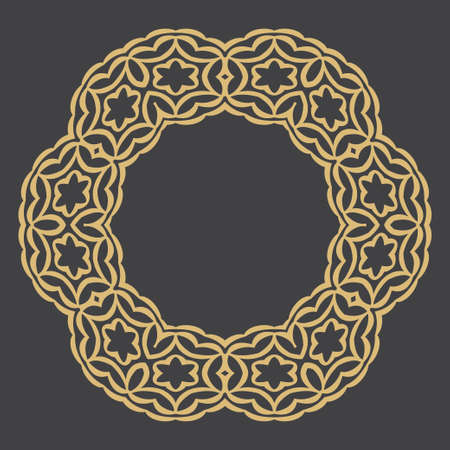 Gold decorative frame. An elegant circular element of design with the place for the text. Production of invitations, menu, cafe and boutiques.  イラスト・ベクター素材