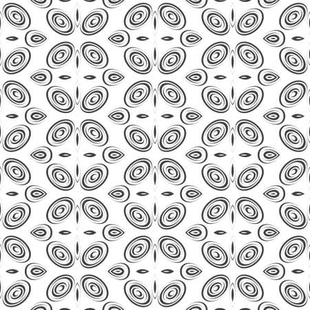 Seamless abstract models. Geometric texture with regularly repeating oval shapes, spirals. Elements of graphic design of fabric, packaging, wallpaper on a wall.