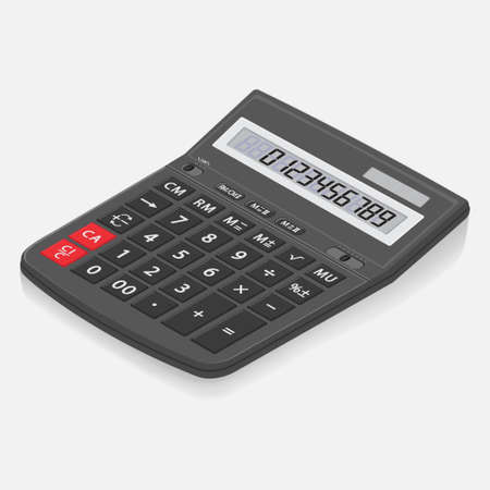 The calculator desktop with the LCD display. 3d. Vector graphic office element of design in isometry. The realistic calculator isolated on a white background.
