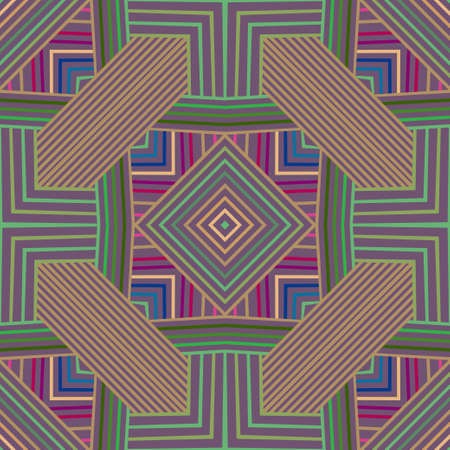 Abstract geometric seamless background. Multicolored painting with stripes, angle, squares. Vector graphics.