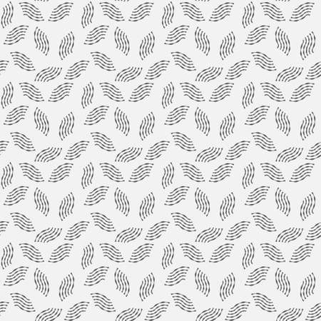Abstract monochrome background. Vector modern repeating tiles in the form of brush strokes. A set of wavy lines inclined in different directions. Graphic lattice design.