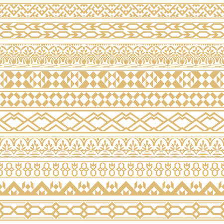 Vector set of dividers in east style. Golden borders for the text and execution of various pages and documents. Design elements. Vector graphics.