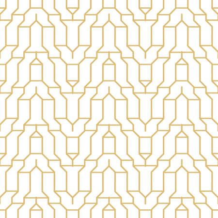 Seamless gold geometric models in the art deco style. Vintage geometric minimalist background. Abstract vector element of graphic design.