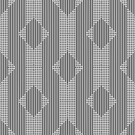 Seamless vector models Modern geometrical minimalist half tone texture. An abstract ornament from small circles and diagonal lines in the form of indexes, corners, a dotted line. Element design. Иллюстрация