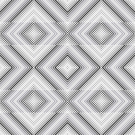 Seamless vector models. Modern geometrical minimalist half tone texture in gradation of gray. An abstract ornament from small circles and diagonal lines in the form of indexes, corners, a dotted line. Element design.