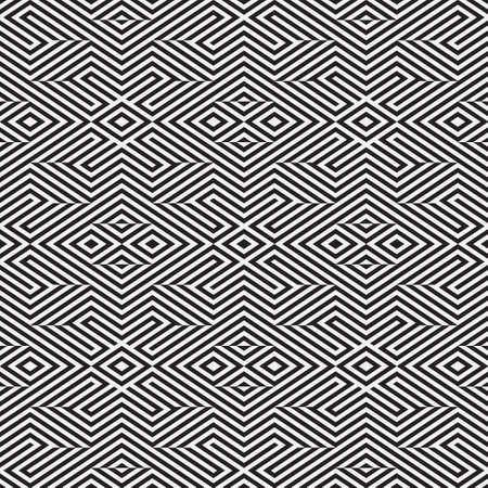 Seamless psychedelic pattern in stripe. Abstract monochrome vector wallpaper. Graphic lattice design.