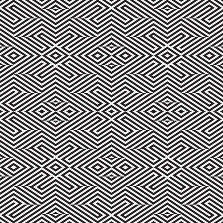 Seamless psychedelic pattern in stripe. Abstract monochrome vector wallpaper. Graphic lattice design.