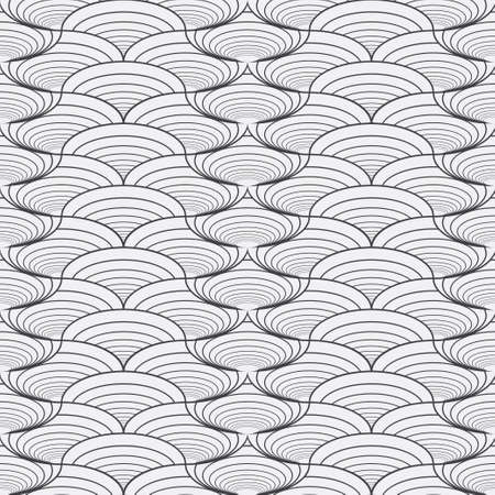 Seamless geometry models in art deco style. Smooth gradation with arcs. Vintage tile pattern. Abstract vector of graphic design.