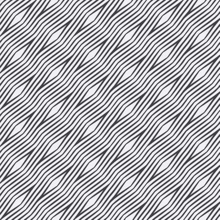 Seamless striped vector background. Abstract monochrome texture. Diagonal wavy lines, rhombes. The repeating geometrical tiles. Graphic element of design.