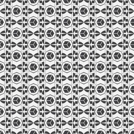 Seamless vector patterns. Abstract monochrome texture with regular repetition of cube, octagon, rombs, line. Lattice graphic design.