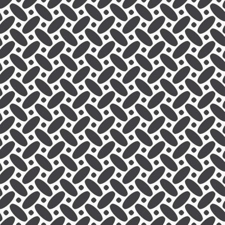 Seamless vector geometrical models. Abstract black-and-white texture with simple repeating oval shapes. Texture of a surface. Lattice graphic design.