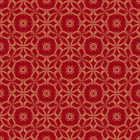 Red and gold wallpaper. Seamless art ornament. Abstract texture. Vector elements of graphic design.
