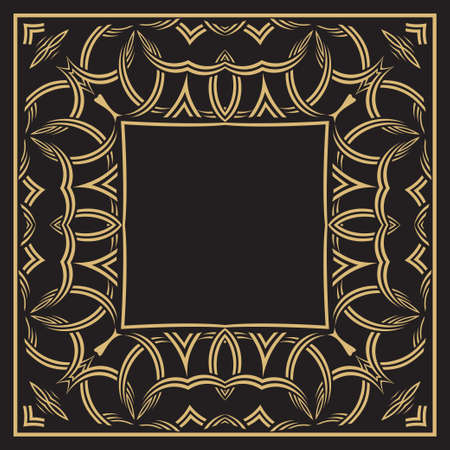 Circular ornament of interlocking lace lines. Gold decorative frame. The place for the text. Applicable for monograms,   wedding invitation, menu. Vector graphics.