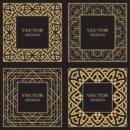 Set of a geometric rectangular stylish frames. Art ornament of elements of design of luxury goods, monograms. Vector illustration.