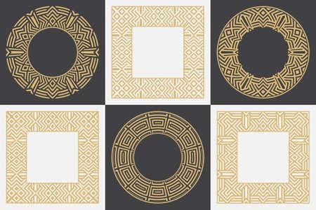 Set of a geometric circular and rectangular stylish frames. Art ornament of elements of design of luxury goods, logos, monograms. Vector illustration.