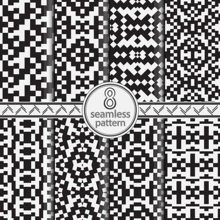 Set geometric monochrome wallpaper. Seamless pattern pixel. Scandinavian style. Abstract quadrangles background. Nordic vector design elements.