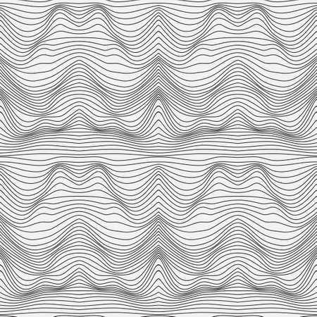 Wavy linear texture. Abstract background of a surface with optical illusion of distortion. Relief background with optical distortion illusion. Vector graphic.
