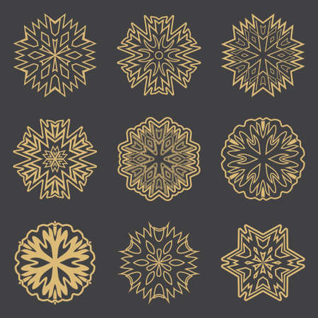 A set of golden icons, signs. Abstract magic symbols. Design elements isolated on a black background. Mascots, charms executed in the form of logos. Vector illustration. Ilustração
