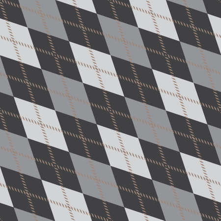 Seamless argyle pattern composed of diamonds of various colors on a plain background, used in knitted garments such as sweaters and socks. Fabric texture background. Vector.
