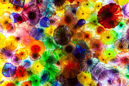 bellagio las vegas: The Hand Blown Glass Flower Ceiling at the Bellagio Hotel In Las Vegas