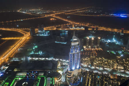 View of Dubai from the Burj Khalifa at night, lights, freeways