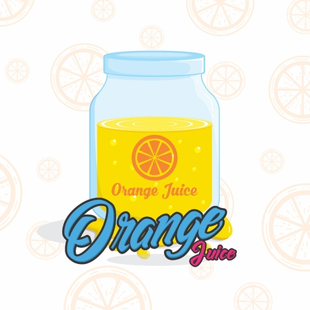 Fresh Orange Juice background/ illustration/ poster with flat orange patern Ilustração