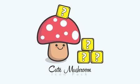 Cute Mushroom Icon. Illustration