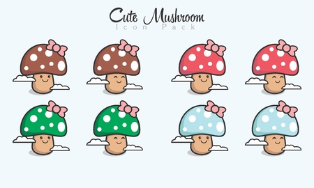 Cute Mushroom Icon. 向量圖像