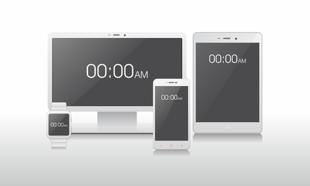 Blank Screen Device Set. Monitor/Lcd, Smartphone, Tablet, Watch