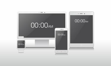 Blank Screen Device Set. Monitor/Lcd, Smartphone, Tablet, Watch Stock fotó - 87055047