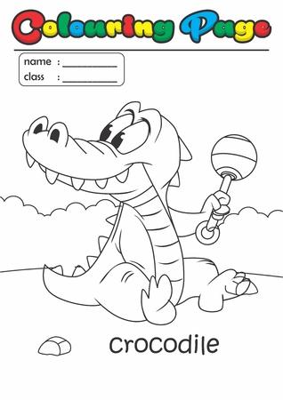 Página Para Colorear / Libro De Colorear Cocodrilo. Grado Fácil ...