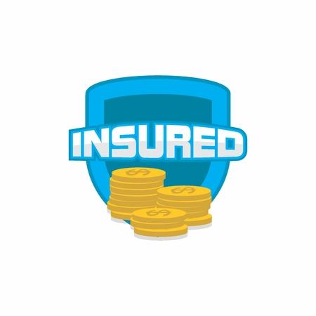 Insured logo, icon, badge, shield for insurance Illustration