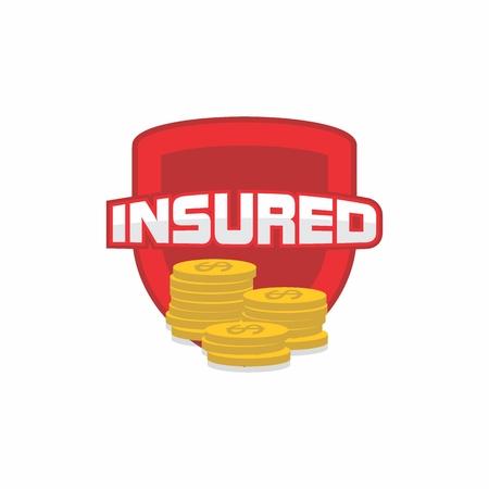 Insured logo, icon, badge, shield for insurance Çizim