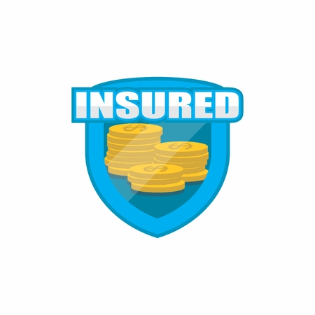 A Logo, Icon, Badge, Shield for Insurance concept, isolated on white