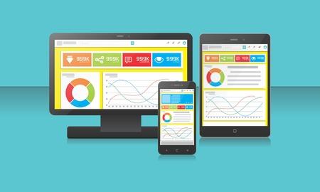 Blank Device Smartphone, Tablet, LCD, Smartwatch Иллюстрация