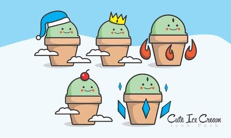 Cute Ice Cream Icon Logo Mascot