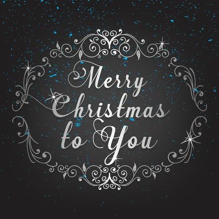 Christmas elegant greeting card in black background