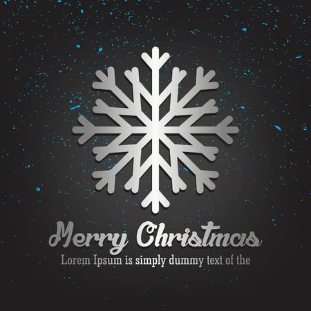 Merry Christmas Lettering Greeting Card Set with Snowflake design in metallic style illustration. Иллюстрация