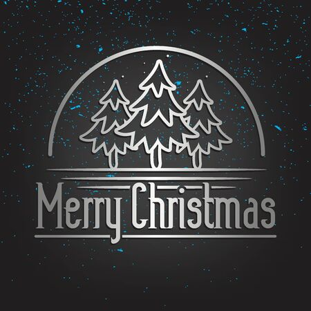 Merry Christmas Lettering Greeting Card Set with Pine trees design in metallic style illustration. Иллюстрация
