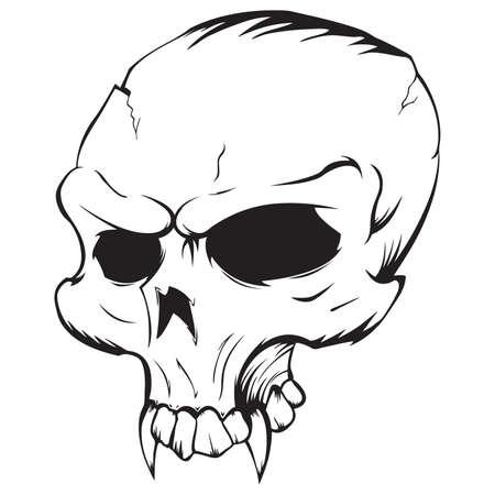 Vector illustratie van een vampier Skull