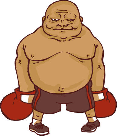 Boxer Fat Cartoon Vector