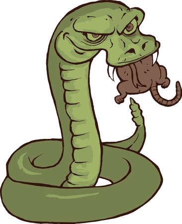 rata caricatura: Hungry serpiente comi�ndose un Rata de la historieta Vectores
