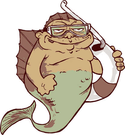 Funny Fat Mermaid Cartoon Vector