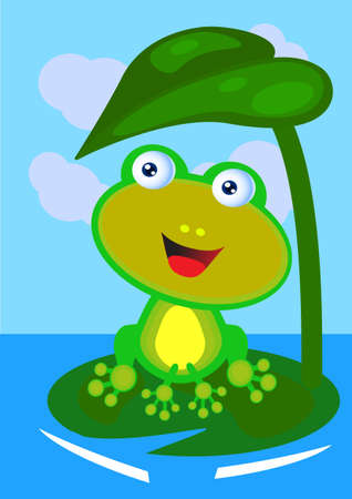 pad  lily: Happy Frog On A Sunny Day